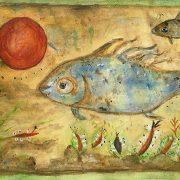 Aktuelles Andreja Soleil - Kunst in der WG - Fisch auf braunem Grund