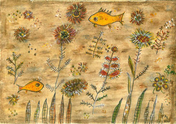 Fischblumen im rosa Meer © Andreja Soleil. Die Fährte. Ausstellung
