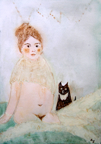 Mädchen mit Kater. Andreja Soleil