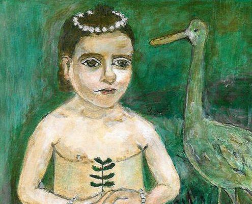 Kinderakt mit Storch. Andreja Soleil