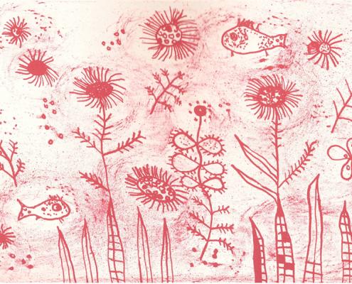 Fischblumen auf rosa Grund © Andreja Soleil