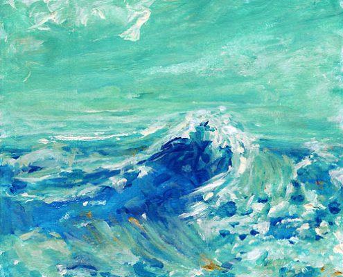 Welle. Und aus dem Meer kam ich, 2018. Acryl auf Leinwand, 20 x 20 cm © Andreja Solei