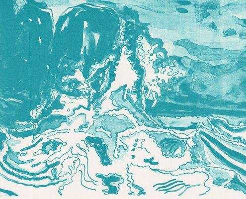 Les Vagues - Hommage an die große Welle von Hokusai. Andreja Soleil. Hommage an die große Welle von Hokusai. Lithographie, Grafik