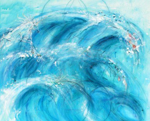 Kraftbild Meer der Vergebung. Acryl, Kohle und Tusche auf Leinwand, 140 x 140 cm © Andreja Soleil