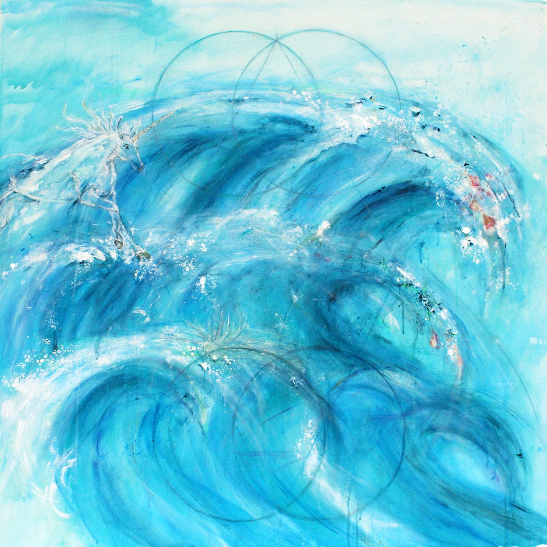 Meer der Vergebung. Acryl, Kohle und Tusche auf Leinwand, 140 x 140 cm © Andreja Soleil