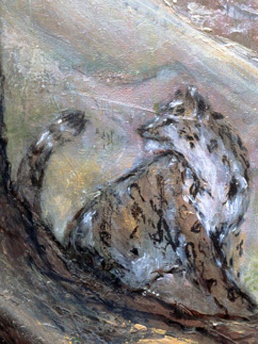"""Krafttier Schneeleopard: Vision, uralte Weisheit, spirituelle Führung (Detail """"Talisman"""" © Andreja Soleil)"""