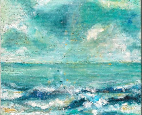 Katharsis. Ostsee Pleinair-Malerei. Acryl auf Leinwand, 20 x 20 cm © Andreja Soleil